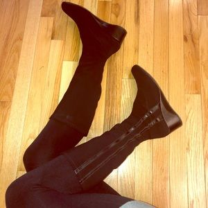 Taryn Rose Knee High Wedge Riding Boots